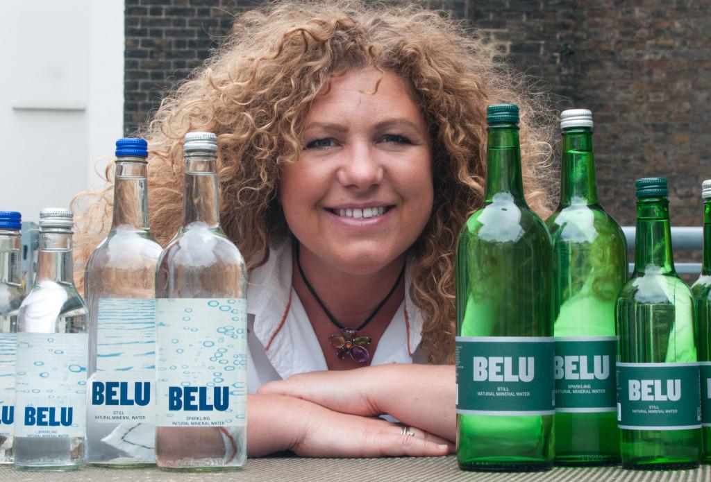 Karen Lynch of Belu Water with bottles of the water