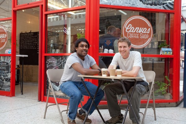 School for Social Entrepreneurs Fellow Pravin at his Portsmouth based coffee shop Canvas Coffee