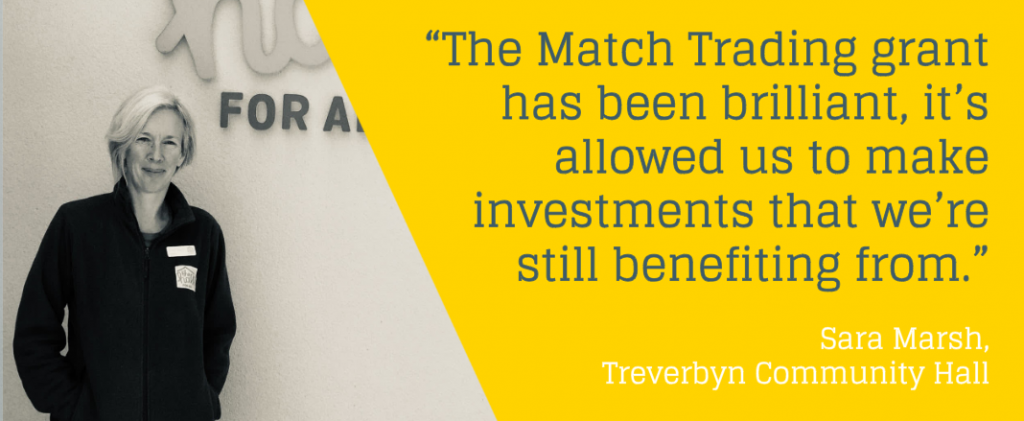 "Photo and quote from Sara Marsh, a student of the programme, reading: ""The Match Trading grant has been brilliant, it's allowed us to make investment that we're still benefiting from."""