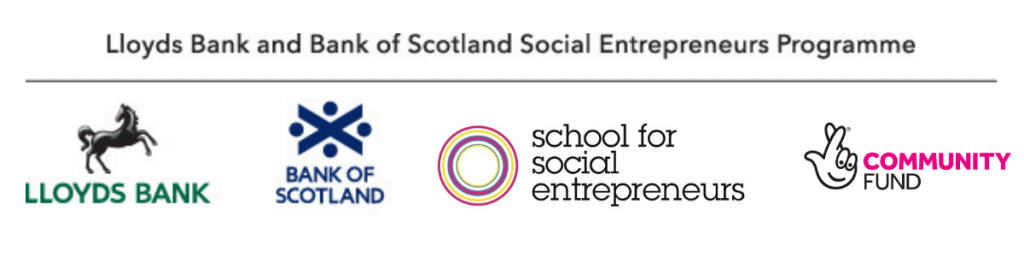 Logo for Lloyds Bank and Bank of Scotland Social Entrepreneurs Programme, in partnership with the School for Social Entrepreneurs and the National Lottery Community Fund.