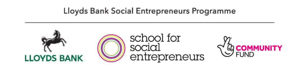 Logo for Lloyds Bank Social Entrepreneurs Programme, in partnership with the School for Social Entrepreneurs and the National Lottery Community Fund.