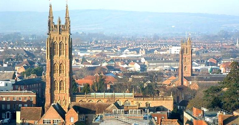 Skyline of Taunton, Somerset with cathedral and buildings