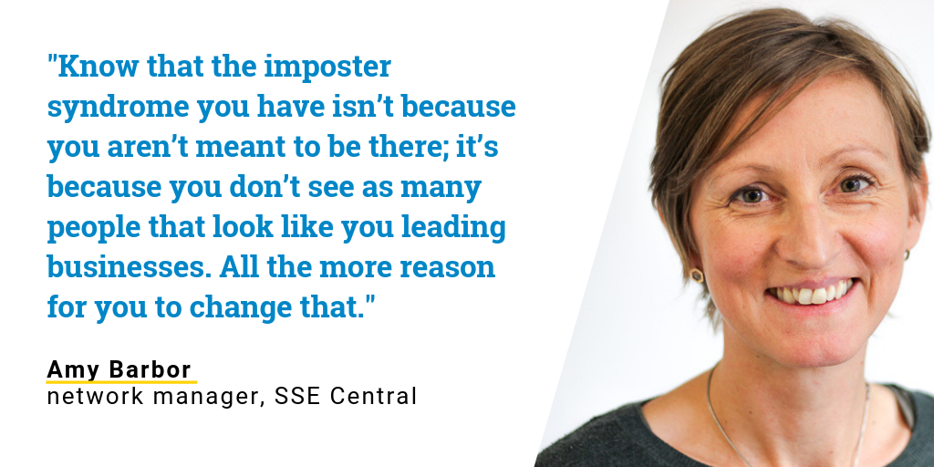 Quote from Amy Barbor, SSE network manager, about being a women in business