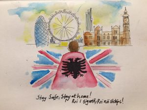 A painting by a Shpresa service user, of London points of interest in the background, a young person wears a cape made of the Albanian flag with the British flag around them. Underneath reads: Stay safe, stay at home! in English and Albanian