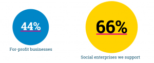 Graphic show 44% for-profit business versus 66% SSE-supported organisations
