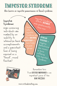 imposter syndrome graphic by withakwriting