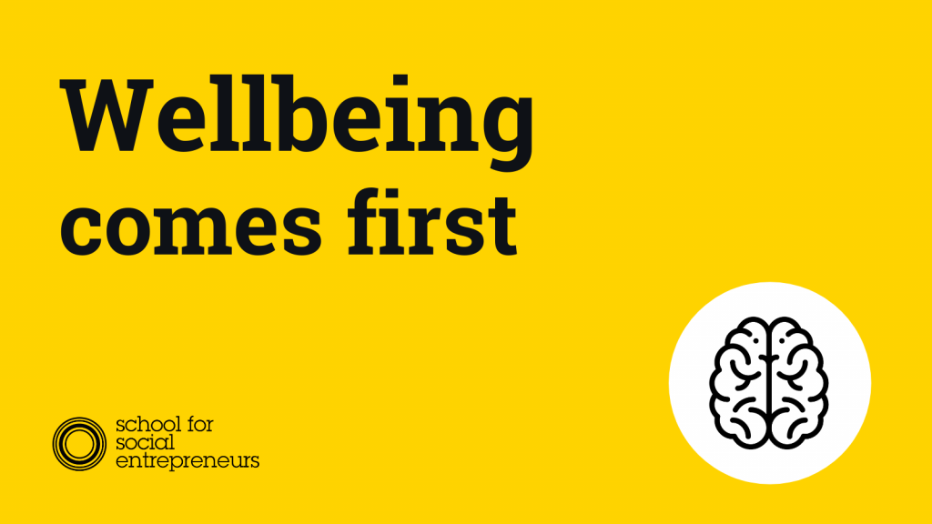 """Graphic reading """"wellbeing comes first"""" with SSE logo"""