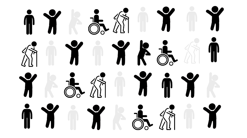 Graphic of lots of different stick figures, some with visible disabilities. 2 in 3 are highlighted