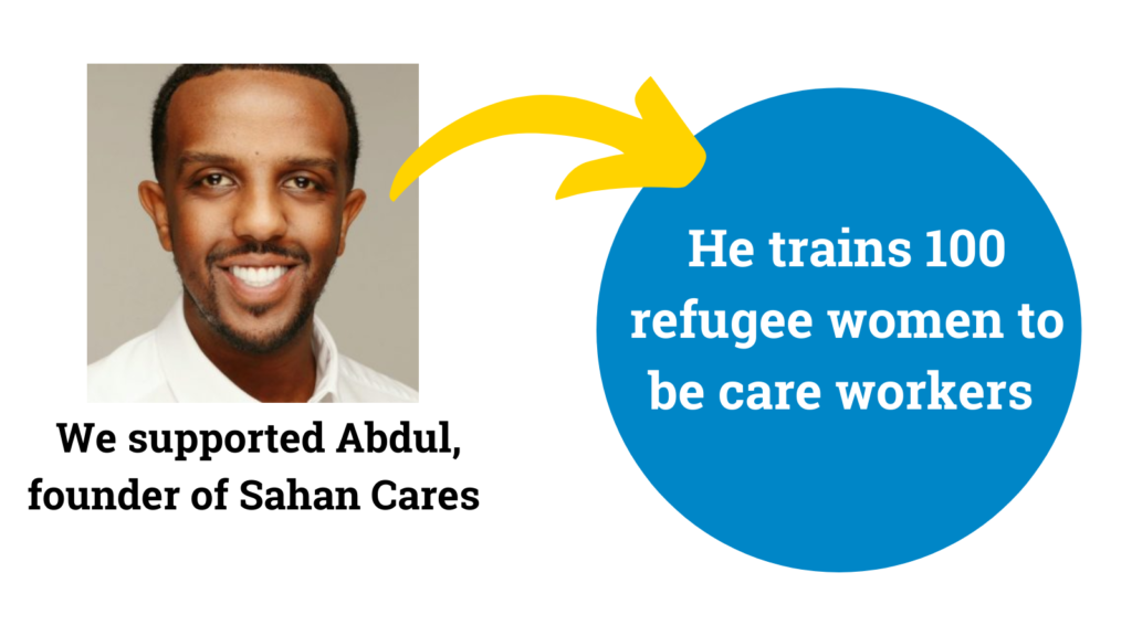 A picture of Abdul Shiil. Text reads: We supported Abudl, founder Sahan Cares. He trains 100 refugee women to be care workers