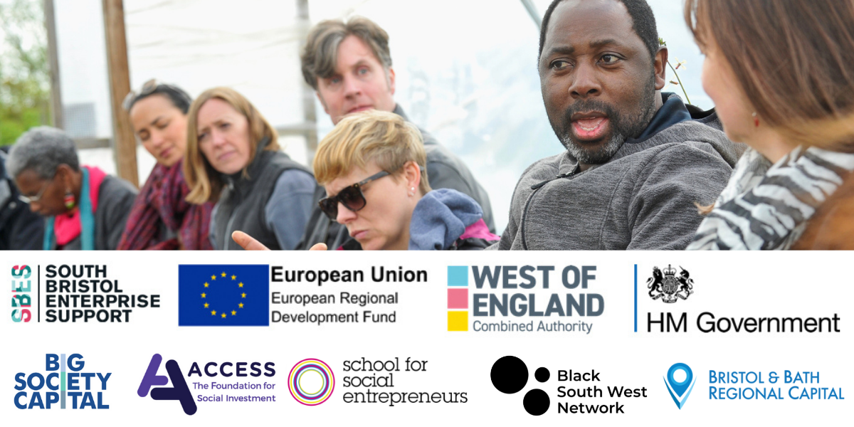 A group of people with logos for SSE, Black South West Network, Voscur, ERDF,
