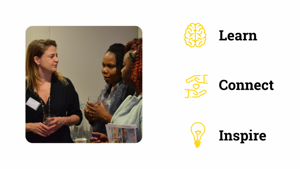 3 people talking at an event with words next to them saying learn connect inspire