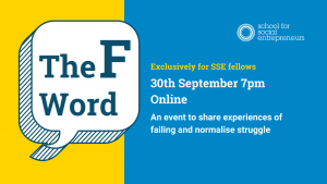 An event banner for an exclusive SSE fellows event: The F Word. 30th September online 7pm