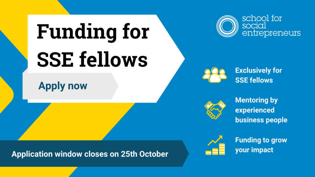 fellows future fund graphic. Applications close on 25th of October. Funding exclusively for SSE fellows. Mentoring by experienced business people. Funding to grow your impact.